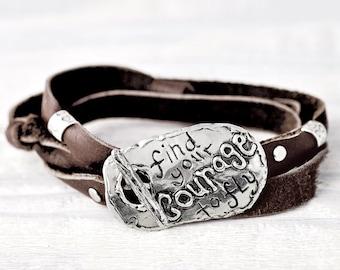Find Your Courage Bracelet- Inspirational Jewelry- Toggle Wrap Bracelet- B463
