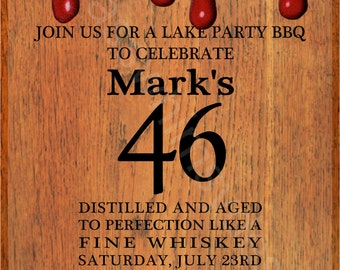 Whiskey label invite etsy 46th birthday red wax makers mark ky bourbon whiskey label 5x7 printable invitation stopboris Choice Image