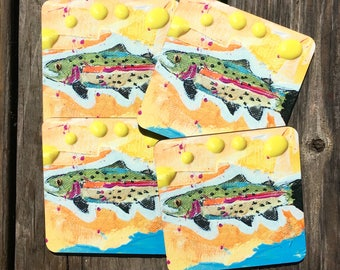 Fly fishing  Trout Coasters set of 4