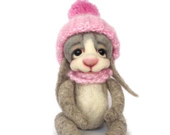 Felted toys rabbit Forest Bunny rabbit Needle felted Wool toys Soft sculpture Wool animal Gift for kids Easter gift girl Rabbit gift