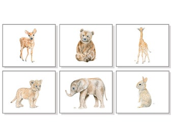 Animal Nursery Art Baby Animal Nursery Prints Animal Paintings Animal Watercolor Animals Cubs Elephant Bear Lion Giraffe Bunny Deer Set of 6