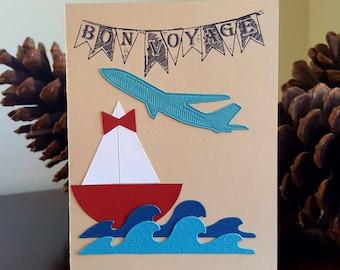 Bon Voyage Card * Safe Travels Greeting Card * Cruise Vacation Travel Card * Handmade World Travels Card