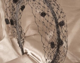 Black Net Headband for Women, Black Hair Accessory, Vintage Look Headband