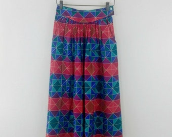 Vintage Flowing Long Skirt Southwest Bohemian Western Fashion Style Liz Claiborne Size Small Stain Glass Design Orange Red Green Blue Brown