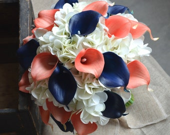 Coral Navy Bridal Bouquet Real touch Calla lilies Hydrangeas Wedding Bouquet