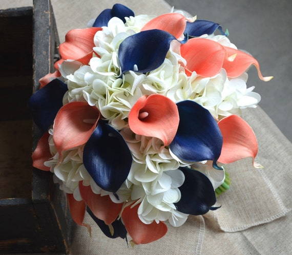 Wedding Bouquet Coral Cream Real Touch Calla Lily Silk Rose: Coral Navy Bridal Bouquet Real Touch Calla Lilies Hydrangeas