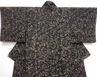 Japanese silk kimono -Vintage - Full length Black and beige Urushi