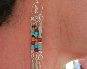 Southwest earrings, Southwest jewelry, Dangle earrings, Native American, Boho style earrings, Unique earrings, Handmade earrings