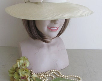Charming vintage wide-brimmed natural straw hat~c1970s~Palest hint of green~Ribbon trim~Gently shabby~Festival~Hippy chic