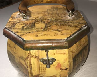 Vintage Wooden Decoupage Box Purse Anton Peck Octagon Lucite Handle