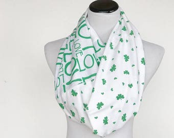 St Patrick's Day Scarf, Love Irish Scarf Shamrock scarf Love letters Scarf, love Irish scarf reversible scarf, white green scarf gift idea