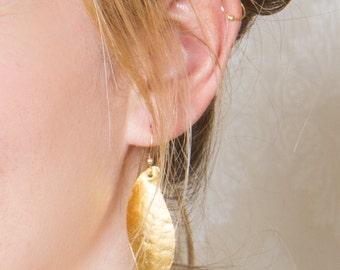 Gold leaf earrings Large Statement Earrings, minimal earrings , Long Gold Dangle Earrings,  everyday earrings , Gift Ideas, Fashion jewelry