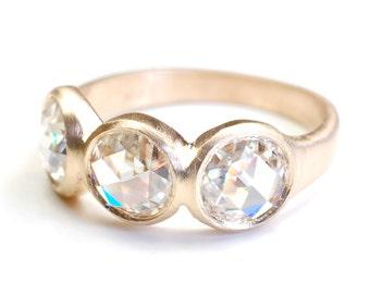 Rose Cut Moissanite Ring, Engagement Ring, Moissanite Ring, Rose Cut Ring, Moissanite and Gold Ring, Wedding Ring, Nixin