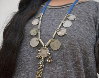 Belly dance tribal pendant, Indian jewellery, Crescent moon, coins, banjara, vintage necklace, bells, afghan necklace, gypsy pendant, hippie