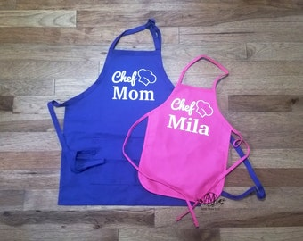 Matching aprons, Personalized mother & daughter Apron Set, Mother's day gift, cooking apron set, womens apron