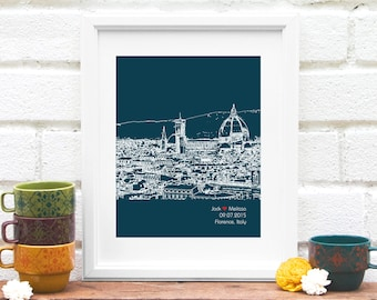 Florence Skyline Newlywed Gift Florence Italy Art Print Personalized Gift Bridal Shower - Florence, Italy, Engagement Gift for Couple