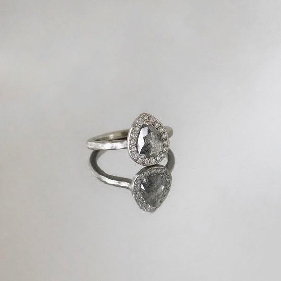 Grey Pear Diamond with Halo