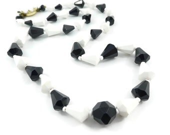 Vintage, Black White, Bead Necklace, Lucite, West Germany