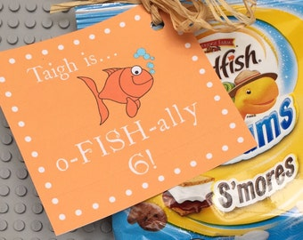 0-Fish-Ally Tags - Fish Birthday Party Favor Tag - Goldfish Tags - Classroom Birthday Treat Tags - Back to School Treat - Printable PDF File