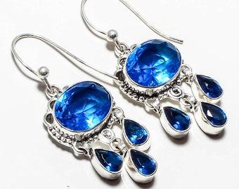 "Blue Topaz Gemstone Handmade Jewelry Earrings 2.0"""