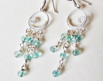 Apatite and 925 sterling Silver earrings