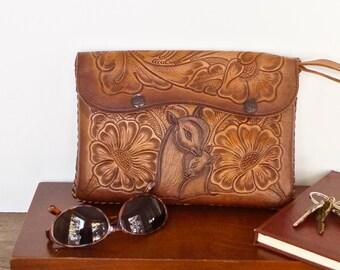 vintage tooled leather structured handbag modern boho