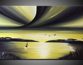 LARGE, Original, PAINTING on Canvas, landscape/Seascape, sunset, Wall Art, Modern, Contemporary, Yellow, black, white, grey