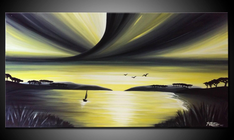 LARGE Original PAINTING on Canvas landscape/Seascape