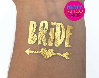 Bride tattoo, bachelorette tattoo, gold temporary tattoo, matching bride tribe tattoo