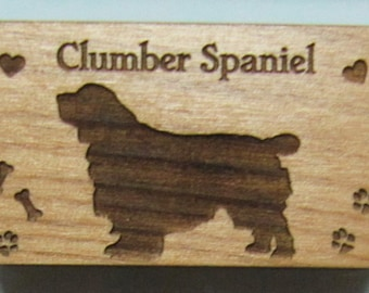 Original Design Clumber Spaniel Wood Magnet