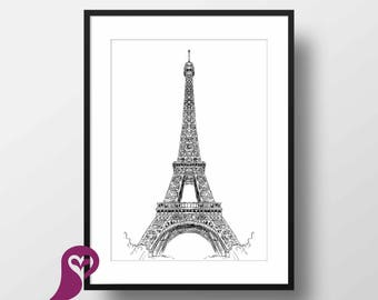 Eiffel Tower Poster | Paris | France | Architecture | Places | Sketch | Wall Art | Wall Decor | Home Decor | Prints | Poster | Digital Paper
