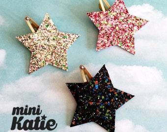mini Katie Glitter Star Hair Barrette, Hair Clip for girls baby Toddlers Infants hair clips