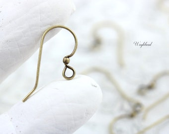 French Ear Wires with Ball Earring Findings US Made Ox Antique Brass Ear Fish Hooks - 6 or 12 Pairs