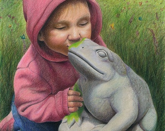 """A little girl in pink kisses a stone garden frog, he comes to life - ACEO Art Reproduction (Print) - """"You've Gotta Kiss a lot of Frogs"""""""