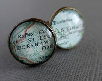 Personalised Map Cufflinks, Bronze Anniversary Cufflinks, Best Man Gift, Unique Gift for Men, Husband Gift Idea, Wedding Gift