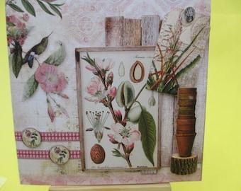 Card 3D (relief) botanical Theme