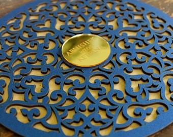 Round Laser Cut Wooden Invitation