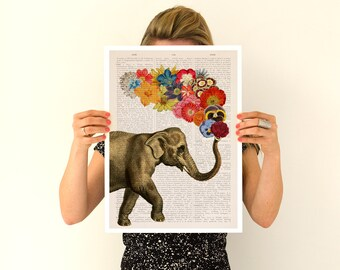 Elephant flower art, Spring celebration Elephant art ,Nursery art, Wall decor , Giclee elephant poster ANI091PA3