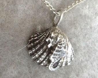 Silver Shell Pendant, Seahorse Pendant, Sterling Silver, 16 inch chain, Nautical Pendant, Ocean Pendant, Seahorse Shell, Silver Shell
