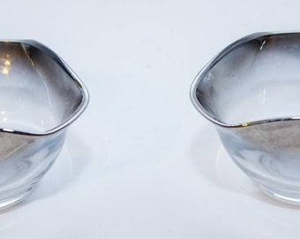 Swanky Pair of Silvered Ombre Triangular Glass Bowls