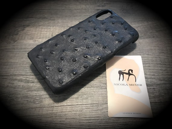 DISCOUNTED and Free Shipping Usa only 1 piece Apple iPhone X Genuine OSTRICH Leather Case color ANTRACITE Dark Grey