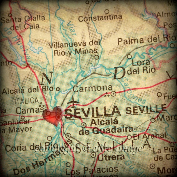 8x8 MAP of SEVILLE Spain with a Heart Shape with a Grunge