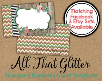 Floral Glitter Business Card - 2 sided Glitter Chevron Business Card - Vista Print Business Card Template - Floral Business Card