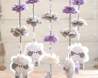 Crystal Nursery Mobile, Purple & Grey Nursery Decor, Baby Girl Mobile, Sheep Mobile, Floral Nursery Mobile //FREE 2-day DELIVERY WORLDWIDE//