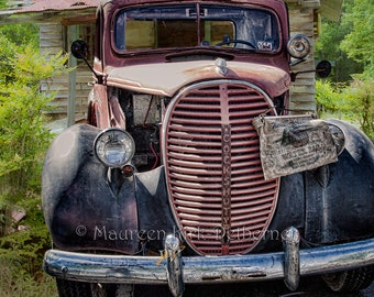 Vintage photography man cave rustic home decor print gift for husband office decor birthday gift red truck 1939 Ford truck