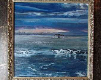"""Framed Acrylic Painting - """"Sunset Rendezvous"""" - 16.5"""" square"""