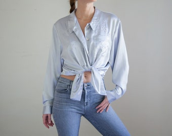 Silver Satin 90's Blouse, Silver Embroidered Blouse