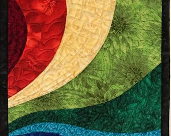 Art Quilt Multi Color Curves Small, Wall Quilt, Wall Hanging