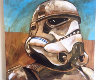 Star Wars - Stormtrooper - original painting on 40cm x 40cm box canvas (ready to hang)