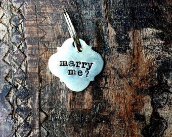 The Puppy Proposal Pet Tag™  MARRY ME Hand Stamped Quatrefoil Shape Pet Tag. Boho Dog Tag. Dog Proposal. Pawposal Dog Tag. Pawposal Idea.